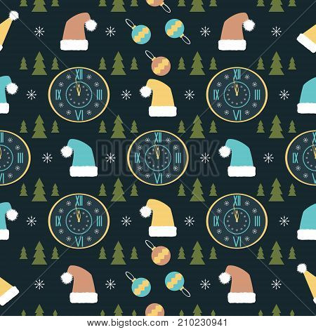 Seamless abstract pattern with New Year symbols in retro colors. Snowflakes, Christmas trees, Santa hats and midnight clocks. Vector illustration for holiday design