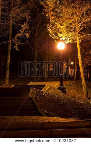 Night view of the illuminated park with concrete stairs and streetlight Sochi Russia
