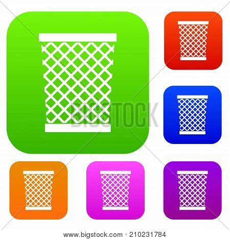 Wastepaper basket set icon color in flat style isolated on white. Collection sings vector illustration