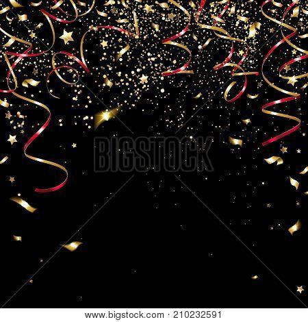 congratulatory golden confetti and serpentine on a black background