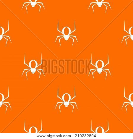 Spider pattern repeat seamless in orange color for any design. Vector geometric illustration