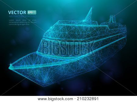 Abstract polygonal marine ship or boat with texture of starry sky. Vector illustration consisting of polygons points and lines isolated on dark blue background
