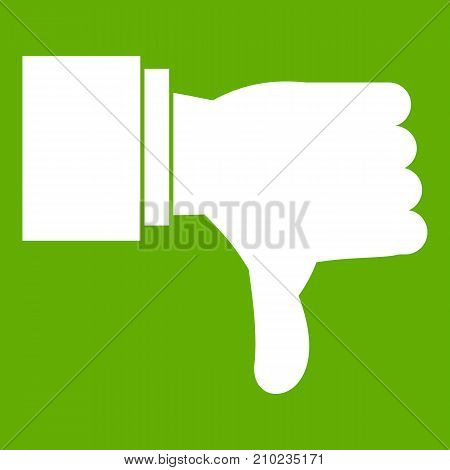 Thumb down gesture icon white isolated on green background. Vector illustration