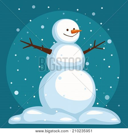 Cartoon Snowman on sky background. Snowman under the snow. The snowman stands in the snow. smiling snowman with open arms. vector illustration