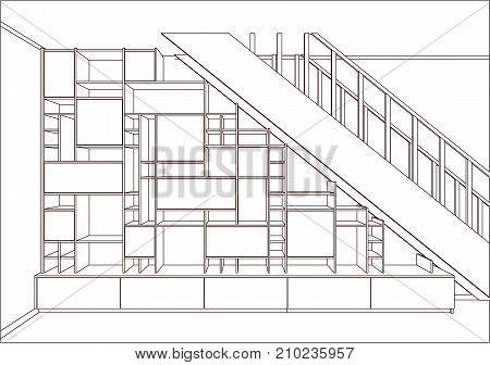 3D vector. Modern bookshelf furniture design in the light interior. Home library.