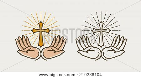 Hands and cross, crucifixion. God, bible, religion faith pray symbol or icon