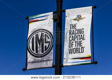 Indianapolis - Circa October 2017: IMS Banners in Speedway Home of the Indianapolis Motor Speedway. IMS Hosts the Indy 500 and Brickyard 400 Auto Races III