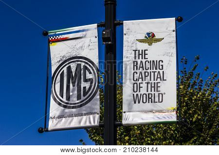 Indianapolis - Circa October 2017: IMS Banners in Speedway Home of the Indianapolis Motor Speedway. IMS Hosts the Indy 500 and Brickyard 400 Auto Races IV