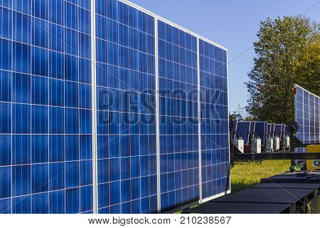 Indianapolis - Circa October 2017: Mobile Photovoltaic Solar Panels on trailers. The ultimate in portable and emergency power each unit is also equipped with a generator I