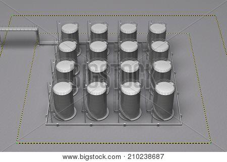 storage group barrels of gas 3d rendering