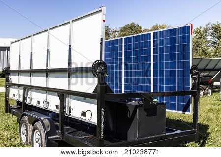 Indianapolis - Circa October 2017: Mobile Photovoltaic Solar Panels on trailers. The ultimate in portable and emergency power each unit is also equipped with a generator IV