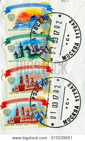 GOMEL, BELARUS, 13 OCTOBER 2017, Stamp printed in Russia shows image of the Russian kremlins, circa 2009.