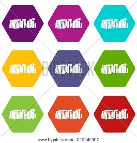 Stonehenge icon set many color hexahedron isolated on white vector illustration