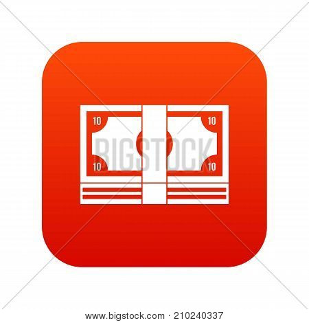Bundle of money icon digital red for any design isolated on white vector illustration