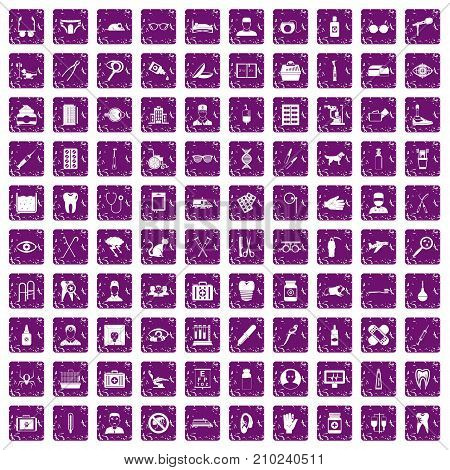 100 care icons set in grunge style purple color isolated on white background vector illustration