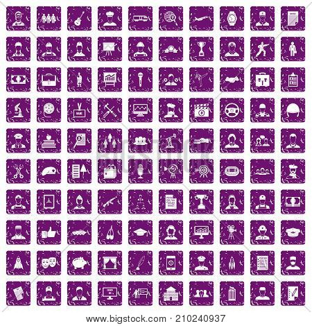 100 career icons set in grunge style purple color isolated on white background vector illustration