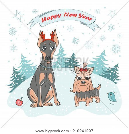 Christmas Greeting Card with cute dog breed Yorkshire terrier and doberman, bird and snowflakes on white background. Lovely illustration in cartoon style. Symbol of Chinese New Year 2018.
