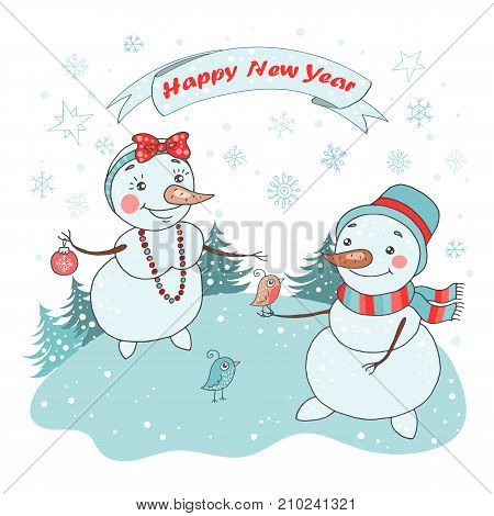 Christmas Greeting Card with cute couple snowman, birds and snowflakes on white background. The phrase on a ribbon - Happy New year. Lovely illustration in cartoon style.