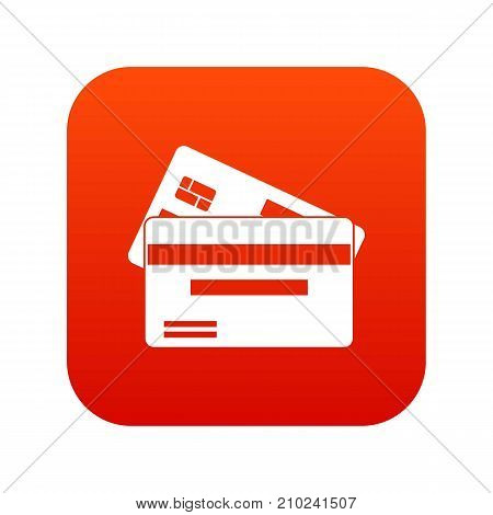 Credit card icon digital red for any design isolated on white vector illustration