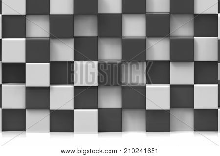 3d rendering. stack of modern luxuery black and white cube shape boxs wall backgoround