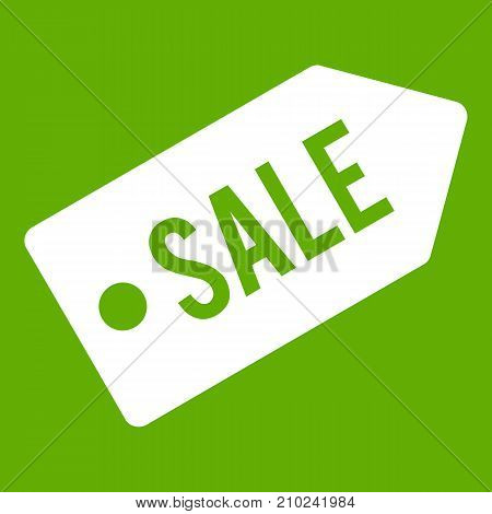 Sale icon white isolated on green background. Vector illustration