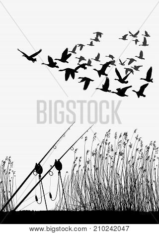 Vector illustration of autumn still life with fishing gear and flying wild geese