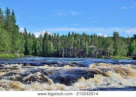 Threshold Padun on the river Chirko-Kem in summer day. Karelia, Russia