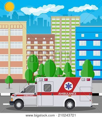 Ambulance car. Emergency vehicle. Hospital transport. Healthcare, hospital and medical diagnostics. Urgency and emergency services. Cityscape, buildings, sky, sun. Vector illustration in flat style