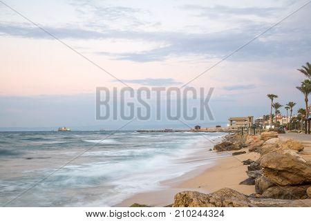 Bat-galim Beach Promenade, At Sunset, Haifa