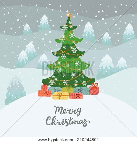 Christmas tree in winter forest with gifts. Merry Christmas. Christmas card.