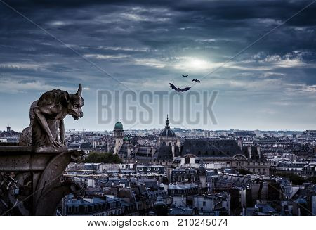 Chimera (gargoyle) of the Cathedral of Notre Dame de Paris overlooking Paris on Halloween, France