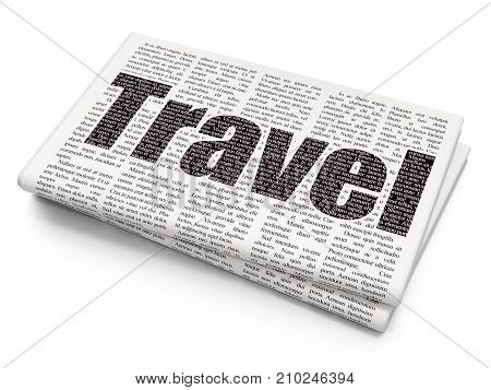 Tourism concept: Pixelated black text Travel on Newspaper background, 3D rendering