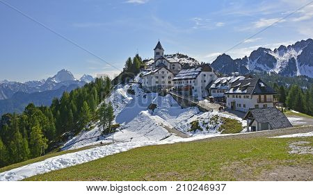 The small village of Lussari on Monte Lussari Friuli Venezia Giulia north east Italy. It is late September in this popular ski village and the first snows have fallen but not yet enough for the start of the skiing season.