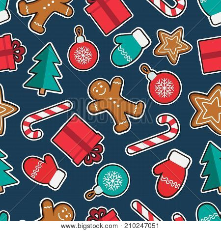 Seamless pattern of Christmas and New Year symbols patches. Gingerbread man, candy, gift, ball christmas tree, gloves stickers pattern on blue background. Vector illustration