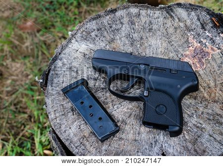 Semi-automatic weapon gun used for recreational sport target shooting or as personal protection.