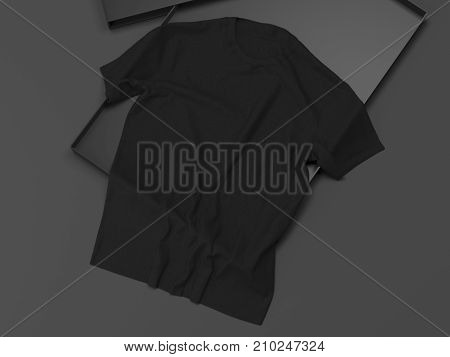 Black T-shirt in a box on a dark background. 3d rendering