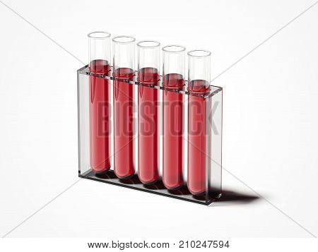 Five test-mixers with red liquid isolated on white. 3d rendering
