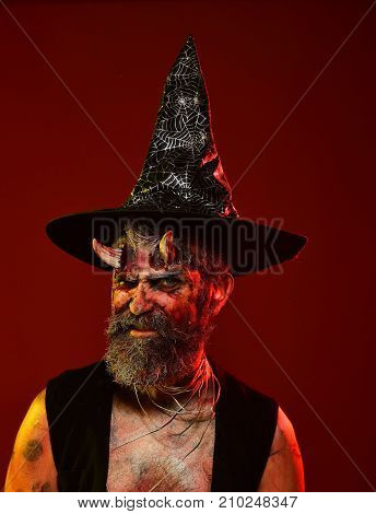 Halloween Devil Hipster With Beard, Blood, Wounds On Face