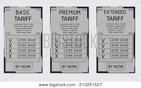 ui ux vector banner for web app. Pastel pricing table, banner, order, box, button, list and bullet with plan for website. Interface for the site