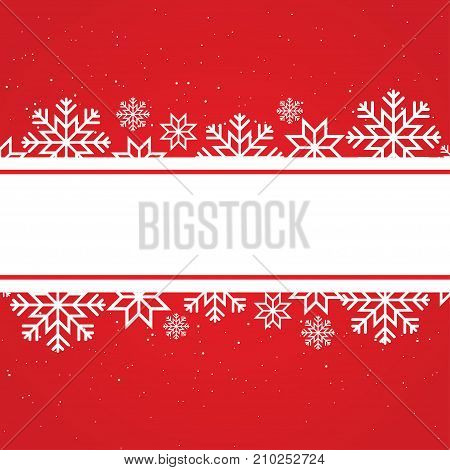 Winter card template with snowflakes and dots place for text. Vector background for xmas and new year design