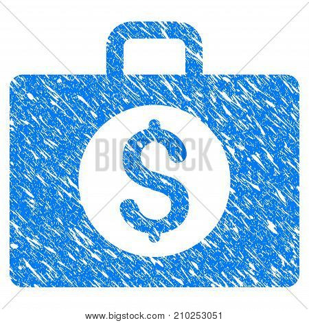 Grunge Accounting Case icon with scratched design and unclean texture. Unclean vector blue Accounting Case pictogram for rubber seal stamp imitations and watermarks. Draft sign symbol.