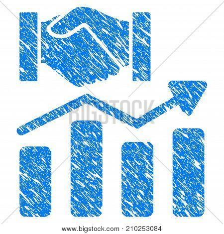 Grunge Acquisition Hands Graph Trend icon with scratched design and grungy texture. Unclean vector blue Acquisition Hands Graph Trend pictogram for rubber seal stamp imitations and watermarks.