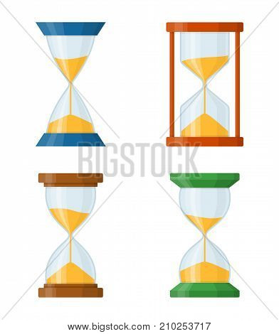 Sandglass set icons isolated on white background. Time hourglass in flat style. Sandclock set vector illustartion.
