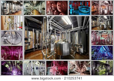 Brewing equipment at microbrewery, collage.