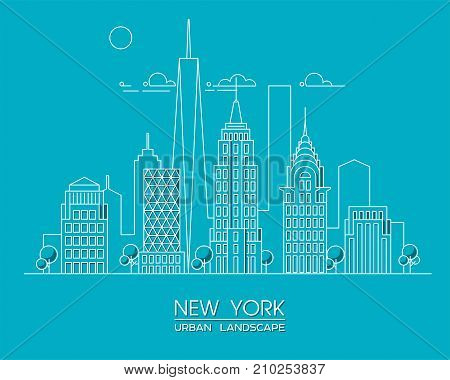 New York city line vector illustration. Famous skyscrapers. Cityscape.