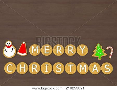 3d rendering. Santa hat tree snow man candy and Merry Christmas letters in cookies shape on copy space wood table bakcground