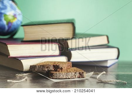 The concept of education books and other objects on the table