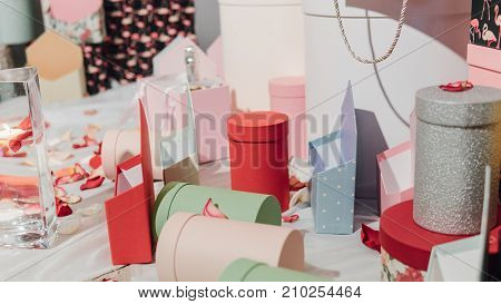 Gift Wrapping Close-up. Multicolored Boxes For Gifts
