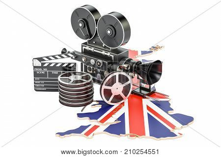 British cinematography film industry concept. 3D rendering isolated on white background