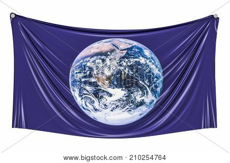 Flag of Earth hanging on the wall 3D rendering